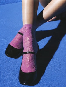 Omsa 3105 Fable Calzino - fashion lace fishnet ankle socks in pink, black and white