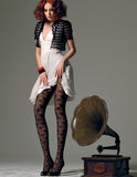 Omsa 3287 Perfume Collant - floral lace fashion tights, available in black, brown and wine