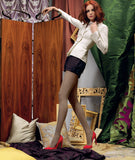 Omsa 3290 Pattern Collant - opaque fashion tights with a small diagonal houndstooth pattern, available in shades of beige and green