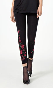 Omsa 3499 Spring Pantacollant - black fashion leggings with a red flower print
