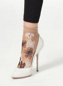 Omsa 3591 Share Calzino - Sheer nude fashion ankle socks with white and black floral print pattern.