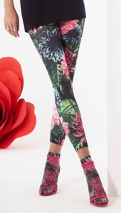Omsa 3569 Floreale Pantacollant - Multi-coloured floral print leggings in pink, black, green, blue and white