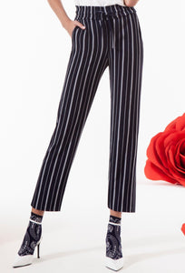 Omsa 3638 Leggings Pantalone Gessato - Navy cropped wide leg palazzo pants with white stripes, pockets and elasticated waistband with draw string.