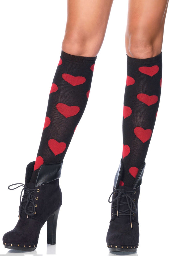 Leg Avenue 5602 Love Sick heart knee highs - black knee-high socks with red hearts pattern