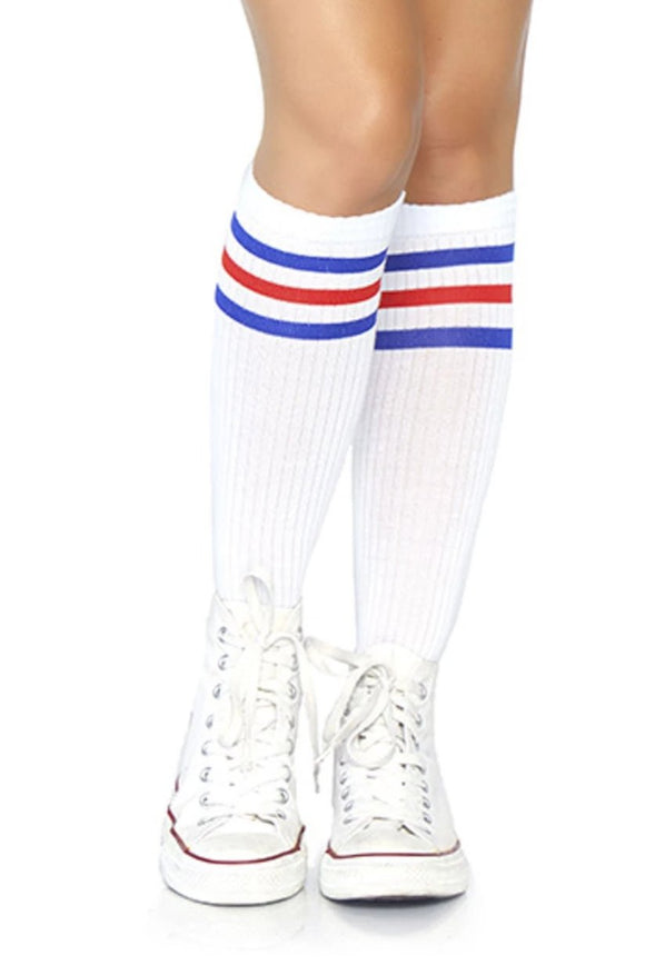 Leg Avenue 5614 Athletic striped knee highs - white sports style knee-high socks with blue and red stripe cuff