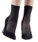 Emilio Cavallini 5D04.5.8 Thin Striped Ankle Socks - sheer black fashion ankle socks with horizontal stripes