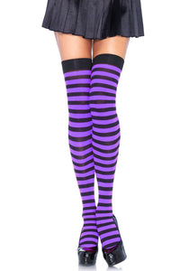 Leg Avenue 6005 Striped nylon thigh highs - purple and black horizontal stripe over the knee socks, can be worn as stockings