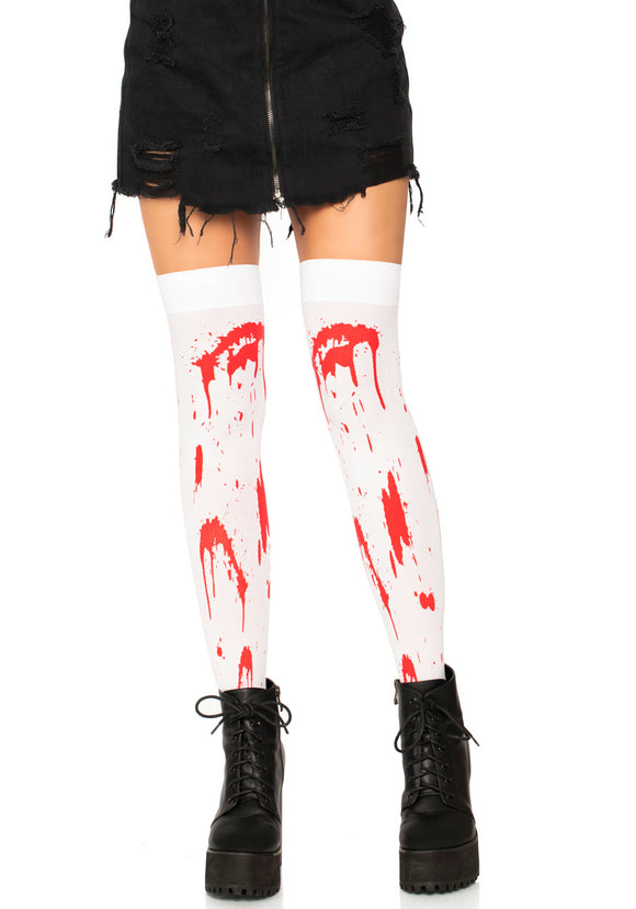 Leg Avenue 6675 Bloody Zombie Thigh Highs - white opaque over the knee socks with red blood splatter print