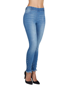 Ysabel Mora 70235 Pearl Jeggings - blue denim jeans leggings with silver and pearl studs and frayed edge cuff
