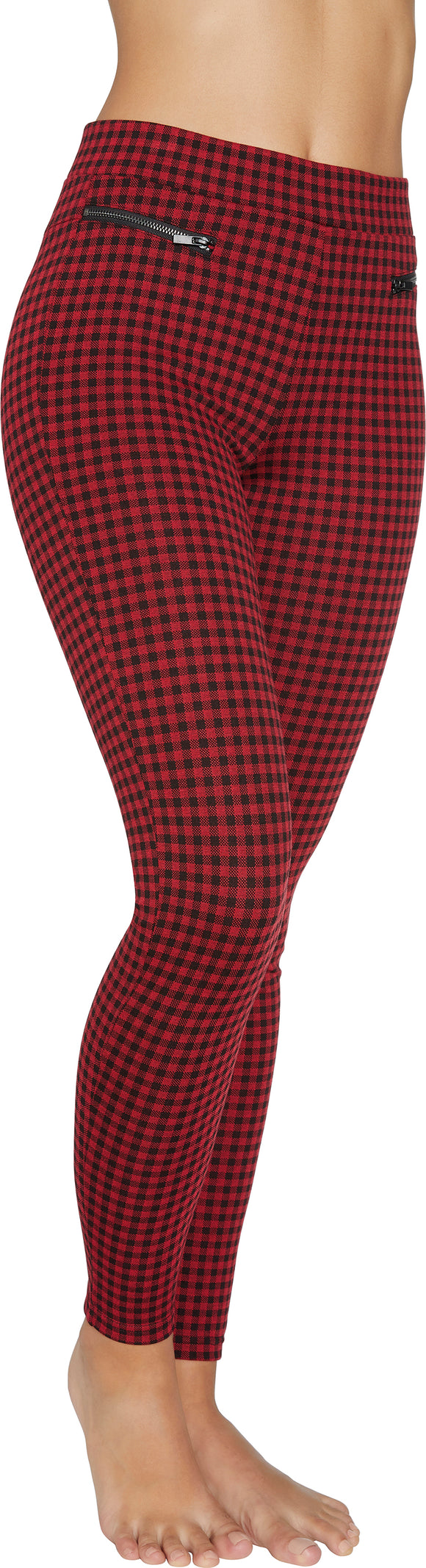 Ysabel Mora 70255 - red and black gingham check stretch high waisted trouser leggings