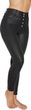 Ysabel Mora 70261 Thermal Push-Up Leggings - black faux leather thermal high waist leggings