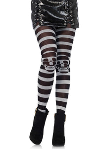 Leg Avenue 7131 Striped skull pantyhose - grey and black striped tights
