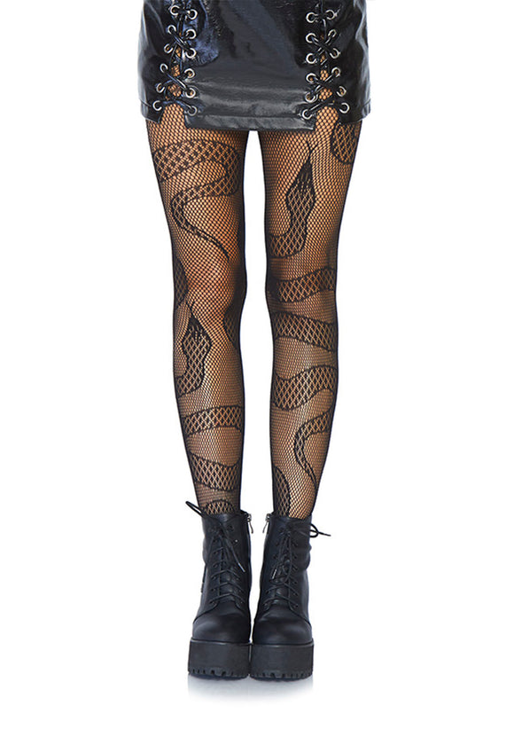 Leg Avenue 8143 Snake net tights - black openwork fishnet tights with all over snakes