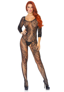 Leg Avenue 89108 Swirl Lace Bodystocking - black floral fishnet long sleeved body stocking