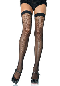 Leg Avenue 9011 Fishnet Thigh Highs - black micro net over the knee socks