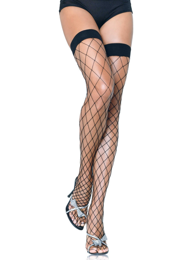 Leg Avenue 9014 Fence Net Thigh Highs - extra wide over the knee socks in black