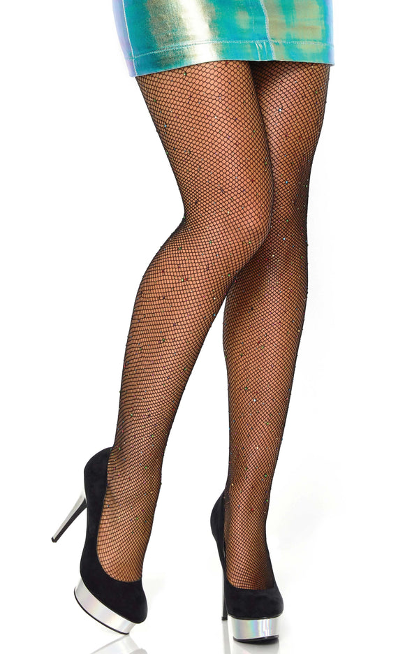Leg Avenue 9016 Rhinestone fishnet pantyhose - black micro net tights with multi-coloured gems