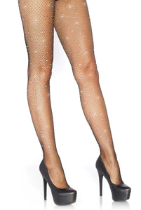 Leg Avenue 9026 Rhinestone micro net tights - black fishnet with sparkly iridescent diamantes