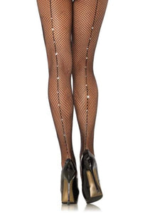 Leg Avenue 9133 Backseam Fishnet Pantyhose - net tights with rhinestone seam