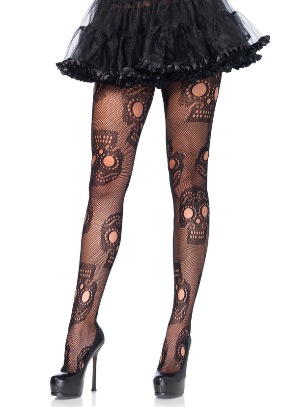Leg Avenue 9982 Sugar skull net pantyhose - black openwork fishnet tights with day of the dead style skulls
