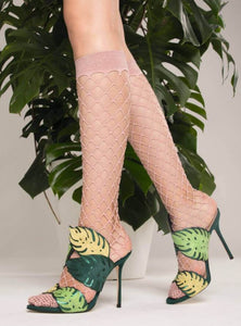 Trasparenze Ananas Gambaletto - wide fence fishnet knee-high sock in pale pink with micro net toe and silver sparkly lurex