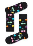 Happy Socks XBDA08-7300 Balloon Animal Birthday Gift Box - cotton socks with multi-coloured cherries in black, pink, yellow, purple, blue and orange