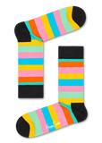 Happy Socks XBDA08-7300 Balloon Animal Birthday Gift Box - cotton socks with multi-coloured stripes in black, pink, yellow, blue, green and orange