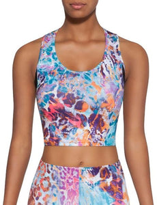 BasBlack Caty Top 30 - multicoloured leopard print cropped sports bra top