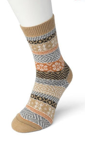 Bonnie Doon BP051129 Folkloric Sock - Warm and soft thermal ankle socks with a fairisle style pattern and elasticated cuff in black, camel, rust orange, grey and white.