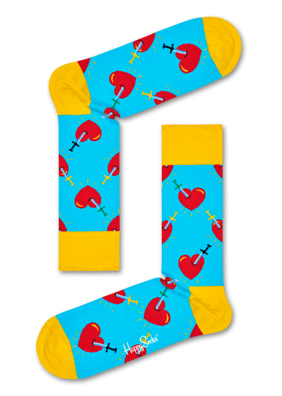 Happy Socks BRH01-6300 Broken Heart Sock - light blue cotton socks with hearts and daggers in red and yellow