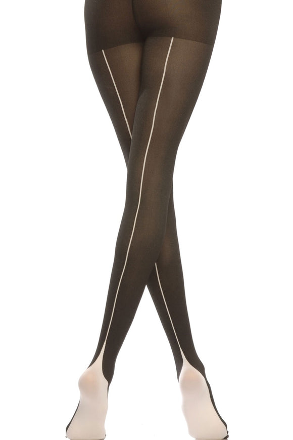 Emilio Cavallini Two Toned Pyramid Tights - black opaque tights with white back-seam