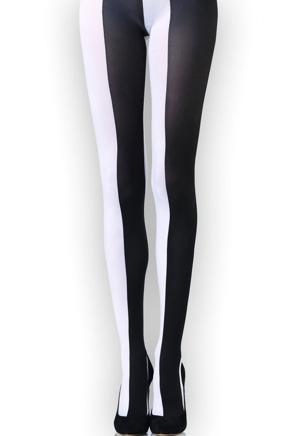 Emilio Cavallini Two Toned Large Vertical Stripes Tights - black and white striped tights