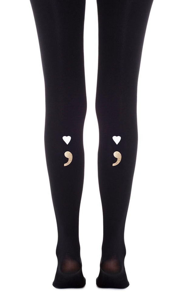 Zohara F509-BWG Bla Bla Black Tights - Black ultra opaque fashion tights with a semicolon print with a white heart for the dot and a metallic gold comma, can be worn to the front or back of the leg.
