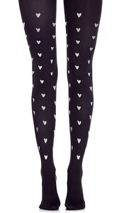 Zohara F665-BS Be Still In My Heart - ultra black opaque fashion tights with metallic silver heart pattern print