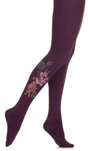 Zohara F751-PMC Stitch It Tights - dark plum purple tights with a multicoloured floral print motif