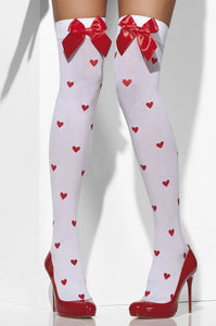 Fever FV42779 white opaque over the knee socks with red satin bows and all over heart print