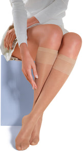 Omsa MiniFit 20 - Sheer knee-high socks with comfort cuff, available in black, navy and nude