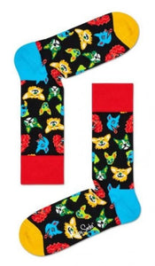 Happy Socks FDO01-9400 Funny Dog Socks - black unisex cotton socks with cartoon dog faces including chihuahua, corgi, french bulldog, cocker spaniel, labrador and huskie.