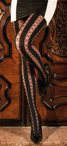 Trasparenze Ipparco Collant - Black fashion tights with sheer vertical stripe with a lace up effect criss-cross pattern.