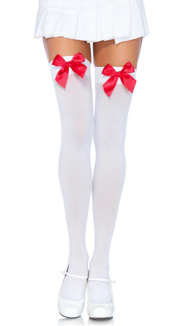 Leg Avenue 6255 Bow Stockings - white opaque thigh high socks with red satin bow