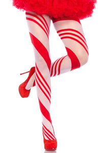 Leg Avenue 7944 Candy Stripe Pantyhose - White semi opaque Christmas tights with woven red diagonal candy cane style striped pattern.