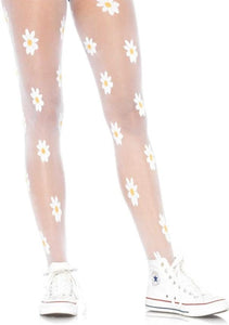 Leg Avenue 7928 Spandex woven daisy pantyhose - sheer white flower pattern tights