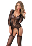 Leg Avenue 89173 Floral Lace Suspender Bodystockings - black long sleeved backless open work fishnet open crotch body stockings