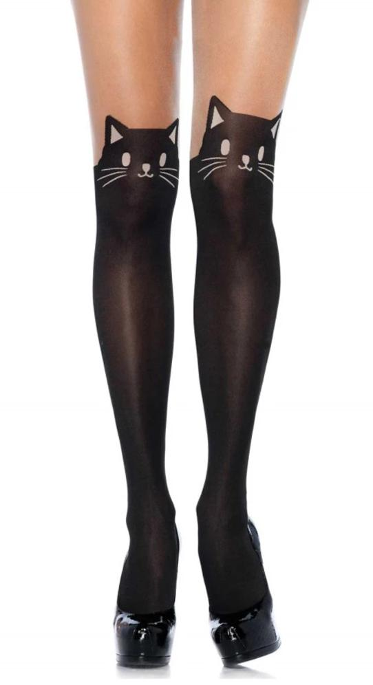 Leg Avenue 7908 Black Cat Opaque Pantyhose - tights with mock black over the knee