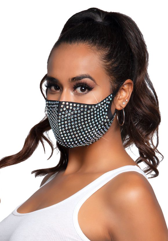 Leg Avenue M1001 Coco Rhinestone Face Mask - black face covering with all over sparkly diamonds