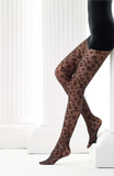 Omero Zuri Collant - Sheer black fashion tights with a rust colour woven leopard print style pattern, flat seams and hygienic gusset.