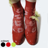 Omsa 3022 Fairy Calzino - Sheer fashion ankle sock with a white floral and spot pattern. Available in lime green, red and black.