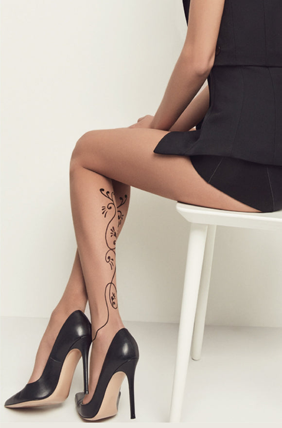 Omsa 3582 Rainbow Tattoo Collant - sheer fashion tights with a swirl back seam pattern