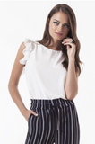 Omsa 3637 Camicia Smanicata Voulant - Light sleeveless round neck top with frills on the shoulder. Available in black and off white