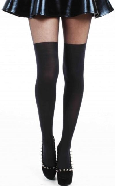 Pamela Mann Mock Over The Knee Sock Tights - black faux over knee tights